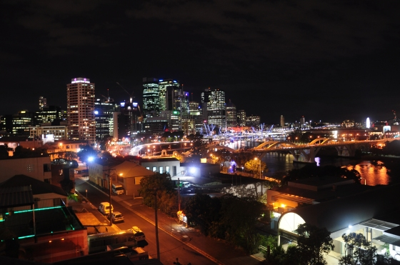Brisbane city as seen from the YHA roof terrace